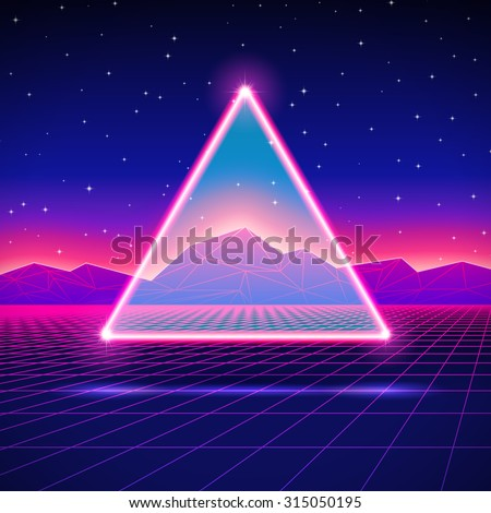 Retro styled futuristic landscape with triangle and shiny grid - stock vector