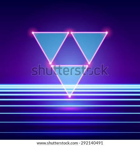 Retro styled futuristic landscape with triforce and shiny base - stock vector