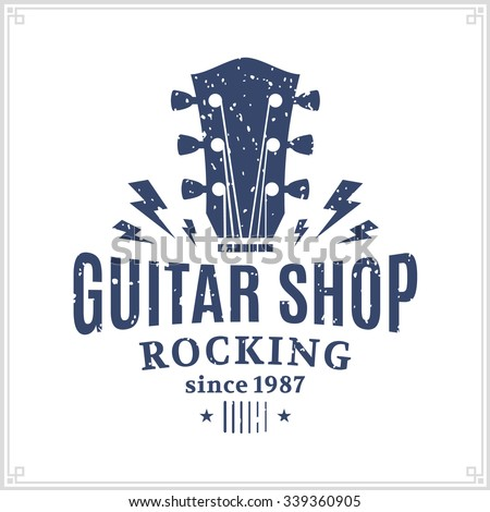 Retro styled guitar shop logo template. Music icon for audio store, branding and identity.