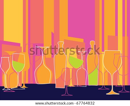 retro styled invitation to cocktail party - stock vector