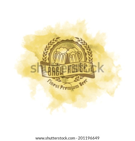 Retro styled label of beer on a watercolor splash. Good as a template of advertisement. Editable layered vector.  - stock vector