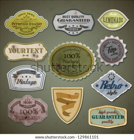 Retro styled labels set - eps10 - stock vector