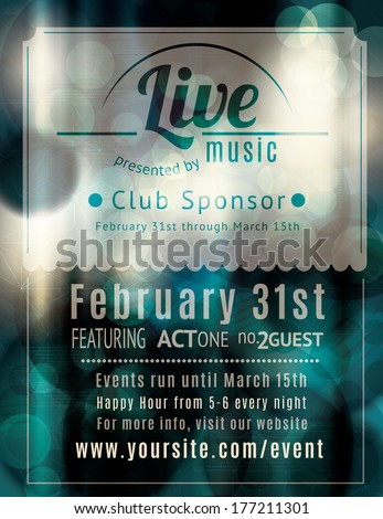 Retro styled Live music venue flyer - stock vector