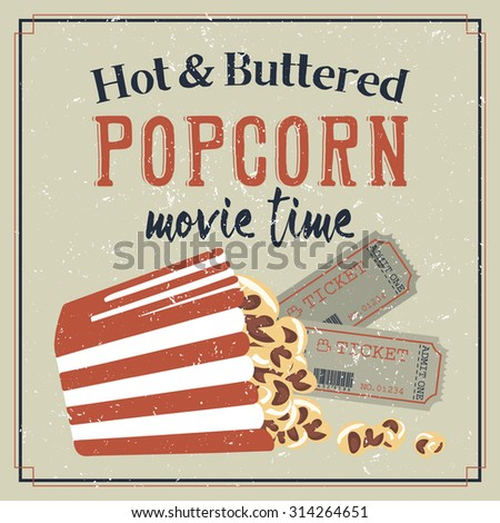 Retro styled movie poster with buttered popcorn - stock vector