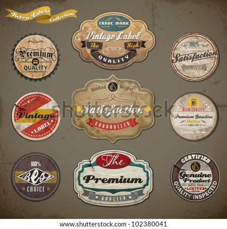 Retro styled old papers Label collection. - stock vector