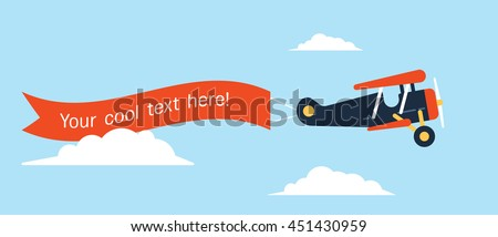 Retro styled plane with the ribbon. Flat design illustration. Perfect for web banners and advertisement.  - stock vector