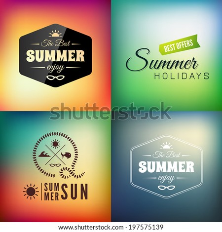 Retro styled summer calligraphic design card set, vintage holiday ornament, beach label element - stock vector