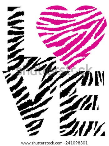 Retro-styled text design of LOVE with a heart in an animal pattern.