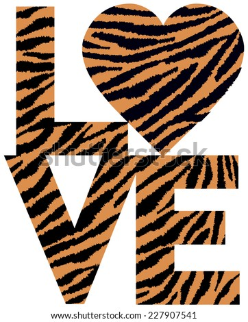 Retro-styled text design of LOVE with a heart symbol in an animal print pattern. - stock vector