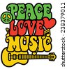 Retro-styled text design with guitar, peace symbol, heart and musical notes in Rasta colors.  - stock photo