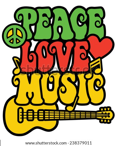 Retro-styled text design with guitar, peace symbol, heart and musical notes in Rasta colors.  - stock vector