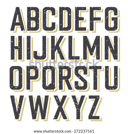 Retro Styled Textured Alphabet  - stock vector