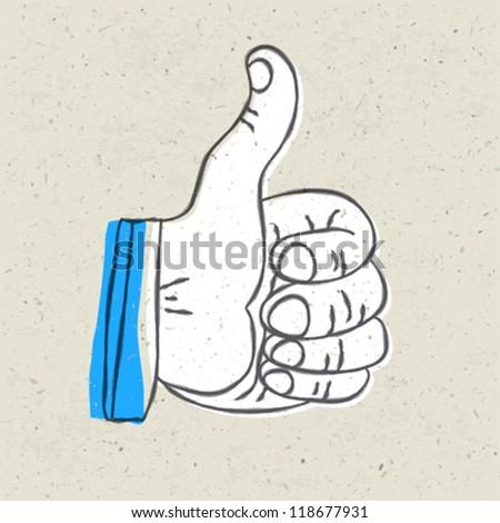 Retro styled thumb up symbol. Vector illustration, EPS10 - stock vector