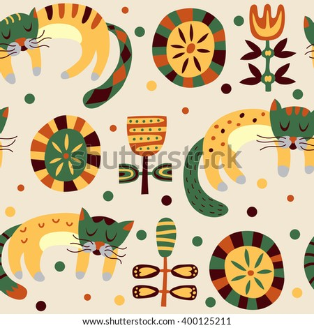 Retro stylish pattern with cute cats. Bright cartoon vector seamless background - stock vector