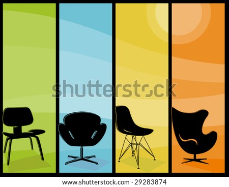 Retro stylized chair Icons with mid-century modern flair. - stock vector