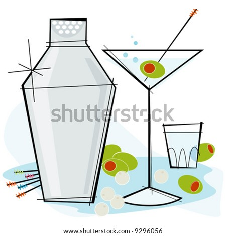 Retro-stylized cocktail spot illustration: Martini with olive - stock vector