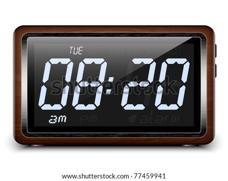 Retro stylized Digital Alarm Clock. Vector - stock vector