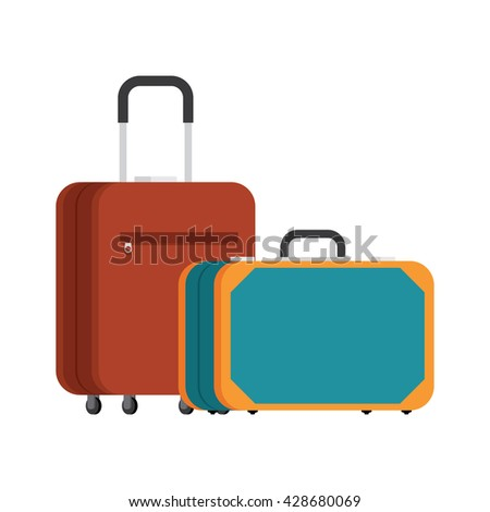 retro suitcase and a modern suitcase on wheels. Two suitcases. Suitcases for traveling and business trips. Vector. - stock vector
