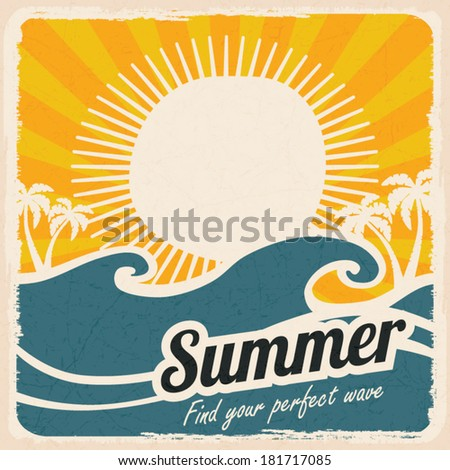 Retro summer holiday poster with sea and waves, vintage style, vector illustration - stock vector