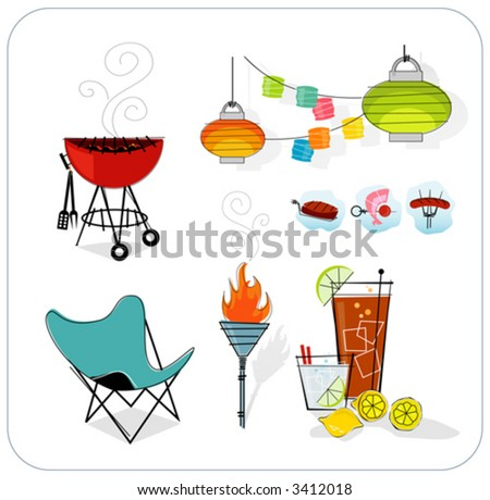 Retro summer icon set. Paper lanterns, barbeque, tiki torch, butterfly chair, summer drinks. Layered file for easy edit--no transparencies or strokes! - stock vector