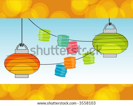 Retro Summer Paper lanterns and Party Lights with a cool background. Objects grouped so you can use them independently from background. Layered file for easy edit. - stock vector