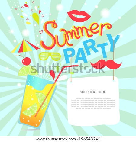 Retro summer party design poster. Night club event typography. Vector illustration. - stock vector