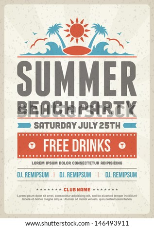 Retro Summer Party Design Poster Flyer Stock Vector 146493902
