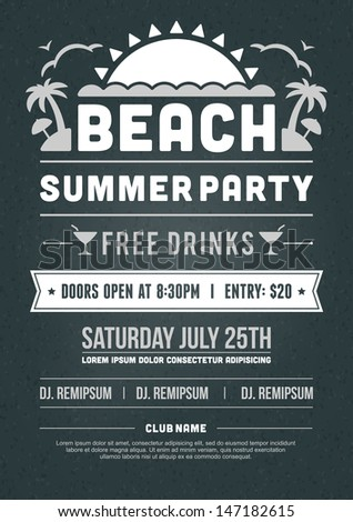Retro Summer Party Design Poster Flyer Stock Vector 147182564