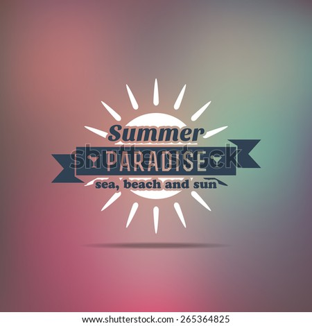 Retro summer vintage label on colorful background. Tropical paradise, beach vacation, adventure and travel - stock vector