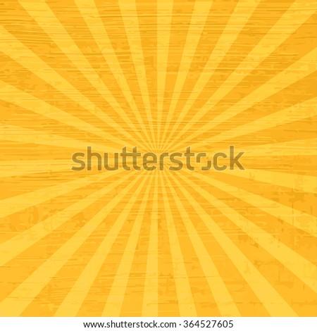 Retro sun rays - orange vintage background. Comics vector backdrop.  - stock vector