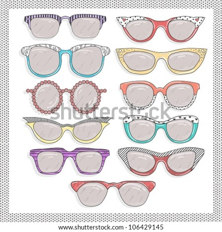 retro sunglasses set. - stock vector