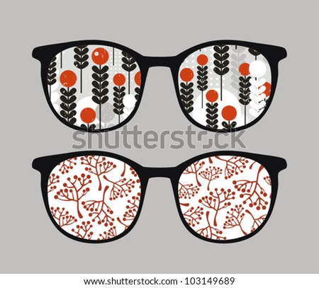 Retro sunglasses with brunches  reflection in it. Vector illustration of accessory - eyeglasses isolated.