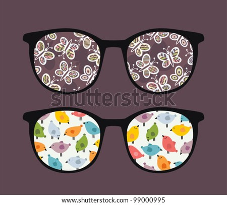 Retro sunglasses with butterflies and birds reflection in it. Vector illustration of accessory - isolated eyeglasses.