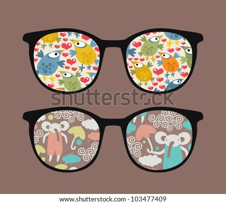 Retro sunglasses with cartoons reflection in it. Vector illustration of accessory - eyeglasses isolated.
