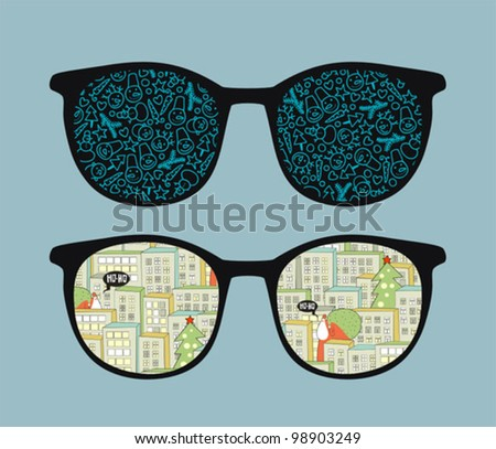 Retro sunglasses  with christmas reflection in it. Vector illustration of accessory - isolated eyeglasses.