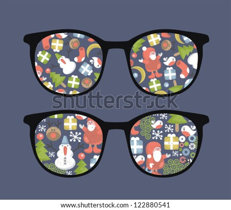 Retro sunglasses with christmas time reflection in it. Vector illustration of accessory - eyeglasses isolated.