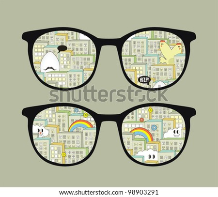 Retro sunglasses with city monsters reflection in it. Vector illustration of accessory - isolated eyeglasses.