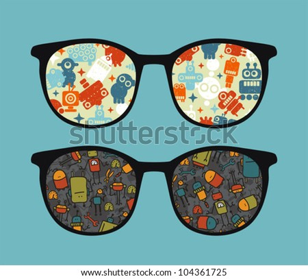 Retro sunglasses with cute robots reflection in it. Vector illustration of accessory - eyeglasses isolated.