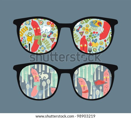 Retro sunglasses with food monsters reflection in it. Vector illustration of accessory - isolated eyeglasses.