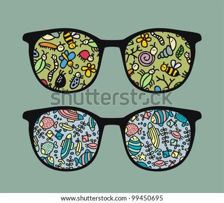 Retro sunglasses with  insects and fish reflection in it. Vector illustration of accessory - eyeglasses isolated.