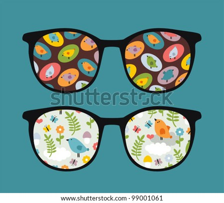 Retro sunglasses with lovely birds reflection in it. Vector illustration of accessory - isolated eyeglasses.