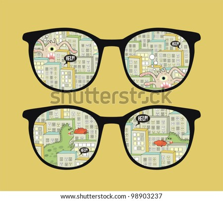 Retro sunglasses with monsters in the city reflection in it. Vector illustration of accessory - isolated eyeglasses.