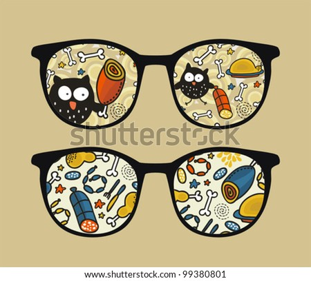Retro sunglasses with owl and meat reflection in it. Vector illustration of accessory - eyeglasses isolated.