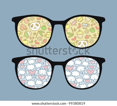 Retro sunglasses with panda and clouds reflection in it. Vector illustration of accessory - eyeglasses isolated.