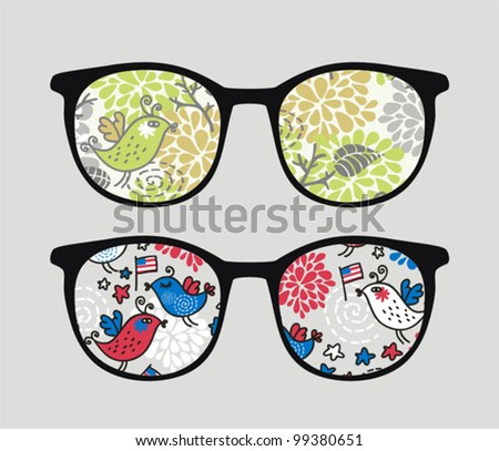 Retro sunglasses with patriotic birds reflection in it. Vector illustration of accessory - eyeglasses isolated.