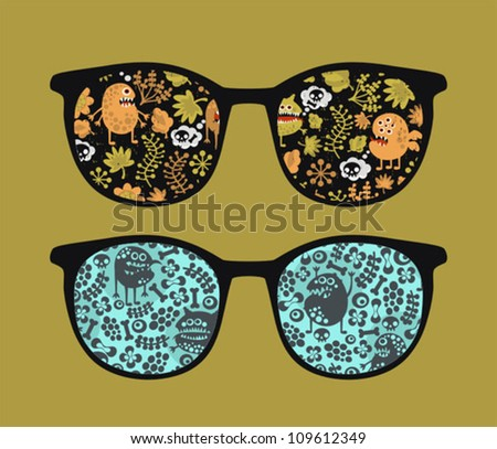 Retro sunglasses with plant monsters reflection in it. Vector illustration of accessory - eyeglasses isolated.