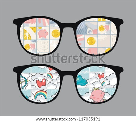 Retro sunglasses with tender reflection in it. Vector illustration of accessory - eyeglasses isolated.