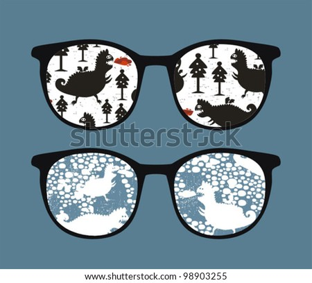 Retro sunglasses with winter dragons reflection in it. Vector illustration of accessory - isolated eyeglasses.
