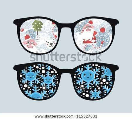 Retro sunglasses with winter reflection in it. Vector illustration of accessory - eyeglasses isolated.