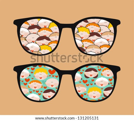Retro sunglasses with women reflection in it. Vector illustration of accessory - eyeglasses isolated.